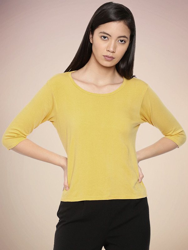 Women's Bamboo 3/4th Sleeve Round Neck Top Alphonso Mango - Front