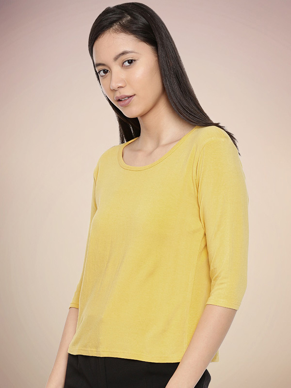 Women's Bamboo 3/4th Sleeve Round Neck Top Alphonso Mango - Side
